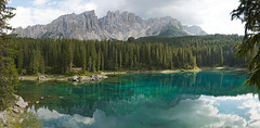 Karersee panoramic view, Dolomites, Italy (Marco Boekestijn) Tags: travel blue italy panorama lake green tourism water pool forest landscape mirror tirol nikon scenery rocks crystal south tourist panoramic clear marco moutains stitched tyrol dolomites dolomiti panoramique beautyful karersee d80 boekestijn