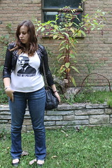 Outfit - sequin blazer, not my president t-shirt, vintage Chanel bag