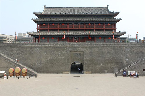 Xi'an Drum Tower and its surrounding walls around Xi'an city, China