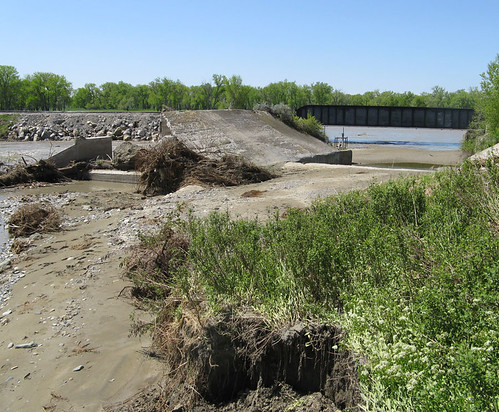 Record high flows in early June washed out irrigation infrastructure near Huntley, Montana, and diverted Pryor Creek and irrigation canal water into the Yellowstone River.