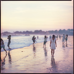 Like no other (Denis Allbertovich) Tags: ocean light sunset sky people bali woman colour reflection 120 6x6 film beach girl beauty mediumformat indonesia square fun evening photo sand asia mood dof kodak 28 kiev88 jimbaran 160nc v700 kaleinar