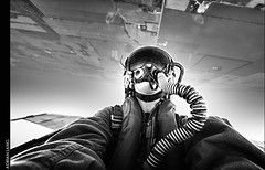 Inverted (~Clubber~) Tags: white canada black monochrome airplane person flying fighter mask upsidedown aircraft aviation military jet nik hornet airforce inverted aviator pilot rcaf cf18