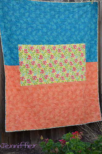 Back of the Orange and blue Quilt