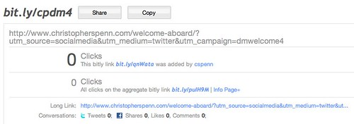 bitly statistics for http://www.christopherspenn.com/welcome-aboard/?utm_source=socialmedia&utm_medium=twitter&utm_campaign=dmwelcome4