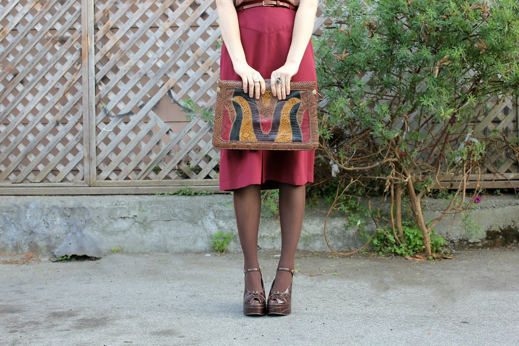 vintage skirt, bag and shoes