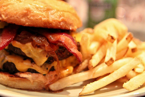 KGB Burgers; Double Bacon & Cheese Burger with Fries