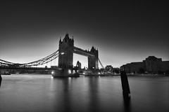 Tower Bridge (Future-Echoes) Tags: longexposure bridge light sunset shadow blackandwhite bw london silhouette thames night towerbridge reflections river dusk tokina riverthames