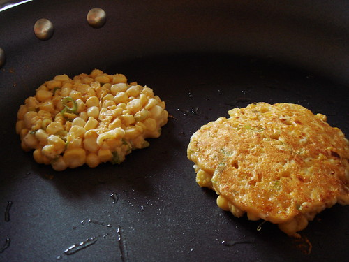 Corn Fritters: Flipped and Not Flipped