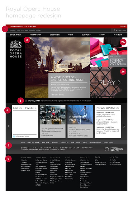 Royal Opera House homepage redesign © ROH 2011