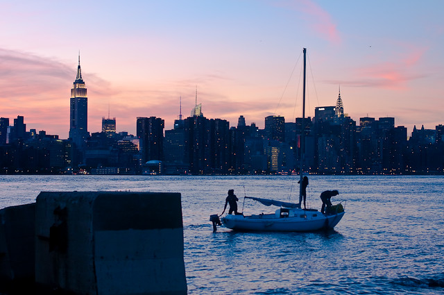 224/365 - Sailboat and Skyline from the Williamsburg Waterfront.