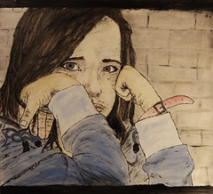 Hard To Stop Crying... (kaeuflin) Tags: blue woman girl face wall hope parents eyes hands tears alone child hand sad crying hard dirty help stop need to cry helpless hopeless