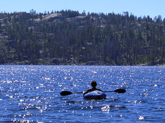 Inflatable kayak on Spicer Res. (thamiter) Tags: california usa mountains alex water northerncalifornia kayak paddle august sierra reservoir casio inflatable pointandshoot sierras sierranevada mountainlake spicer stearns alpinecounty stanislausnationalforest 2011 vogonpoetry newspicermeadowreservoir
