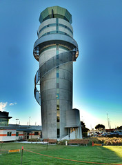 Christchurch Airport's Control Tower (Steve Taylor (Photography)) Tags: city newzealand christchurch sunrise dawn airport control air watch canterbury lookout aeroplane landing nz southisland takeoff hdr
