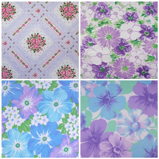 retro multicolored floral: purples, blues, greens & pink