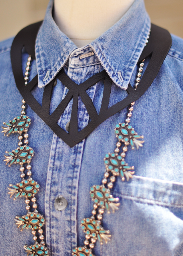 leather cut out necklace collar and squash blossom necklace