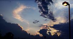Late Summer (daveelmore) Tags: light sunset sky panorama copyright sunlight clouds evening streetlight streetlamp lightpole allrightsreserved 5photos legacylens panoramicstitch penfm43adapter gzuiko40mm114 daveelmore