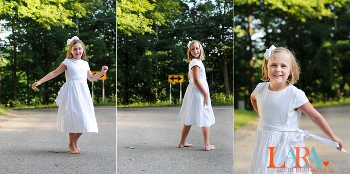 girls in white triptych