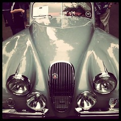 Jaguar XK120 Roadster (liquidnight) Tags: show classic lines car metal oregon vintage square portland design automobile shiny curves exhibit headlights grill bumper chrome pam squareformat hood pdx normal jaguar bonnet sportscar roadster iphone xk120 portlandartmuseum iphone4 iphoneography allureoftheautomobile instagram instagramapp uploaded:by=instagram