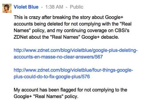 My account has been flagged for not complying to the Google+