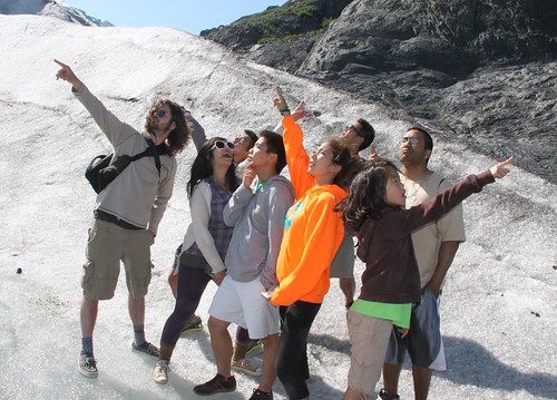 cousins on a glacier