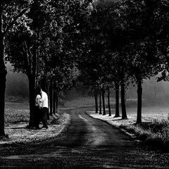 A Love Affair (h.koppdelaney) Tags: life road trees white black art love digital photoshop drive dangerous alley hug kiss view symbol amor picture philosophy lovers eros amour mind romantic motivation metaphor affair liebe psyche unconscious kuss symbolism psychology archetype umarmung fateful liebespaar koppdelaney