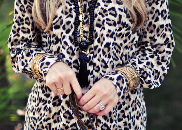leopard blouse -jewelry -tassels-chains-bangles-rings-sunglasses-leopard and green