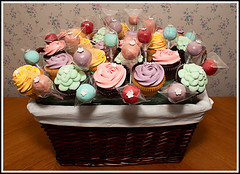 Cupcake & Cake Pop Bouquet (tortacouturecakes) Tags: pink flowers blue white green rose cake lemon basket purple linen chocolate 123 pop petal cupcake bouquet wicker 1m wilton lined