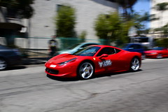 Rosso (Charlie Davis Photography) Tags: california italy speed spectacular outside la losangeles amazing hp italian italia driving action awesome 110 fast sunny ferrari burning 200 hollywood sound expensive panning quick limited loud rare mph exclusive supercar v8 horsepower degrees 458 acceleration charliedavis targatrophy charliedavisphotography chazzz15
