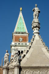 Campanile as seen from the Doges Palace in Venice (Marjan de B) Tags: city travel venice vacation italy tower history water island town basilica august campanile historical piazza venezia stmark veneto 2011 deblaauwpix
