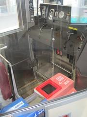 "Driver compartment in ""one-man"" train car (Joel Abroad) Tags: japan train railway ticket jr oneman wanman obamaline"