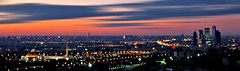 Late Evening Moscow Panorama (Serge Freeman) Tags: city sunset panorama architecture buildings lights cityscape russia dusk moscow horizon aerial