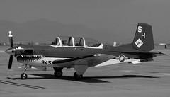 Beechcraft  T-34C Mentor 160945 (jackmcgo210) Tags: blackandwhite bw blackwhite beechcraft mentor t34c t34 2011 kiwa phoenixmesagatewayairport 160945 beechcraftt34cmentor