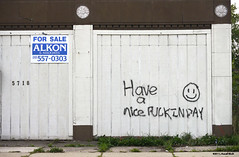 The Friendly Streets of Detroit (TooLoose-LeTrek) Tags: wall graffiti detroit surreal smiley minimalism smileyface