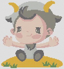 Preview of Cross Stitch Patterns: Baby Capricorn (Baby Zodiac Series)