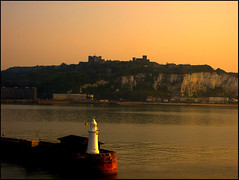Dover Castle (arizonafriend (100k views)) Tags: sea england lighthouse castle water harbour dover englishchannel wow1 wow2 wow3 pentaxoptios