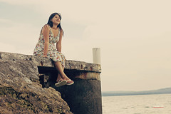 Shengy's Delight (Dylan Uy) Tags: ocean sea portrait woman water girl sitting afternoon philippines mindanao dylanuy