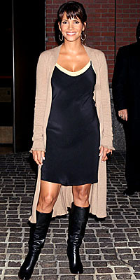 Halle Berry wears sweater coat