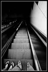 Unknown (Edwin_Abedi) Tags: street city blackandwhite bw losangeles downtown escalator