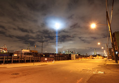 Tribute in Light two: Red Hook, Brooklyn (Chris Arnade) Tags: newyorkcity brooklyn 911 redhook tributeinlight sept11th chrisarnade