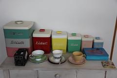 Nally (sewretro) Tags: cup vintage tin ballerina tea pastel retro brownie canister saucer nally gayware