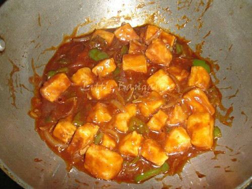 Paneer added in the gravy