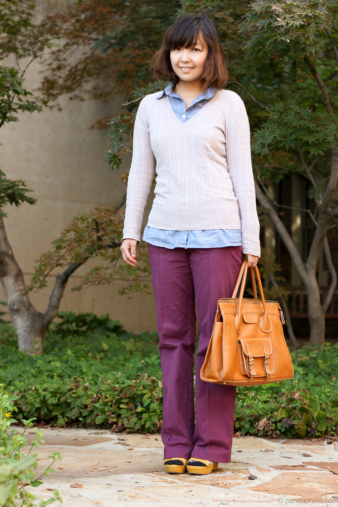 preppy fall sweater colored jeans