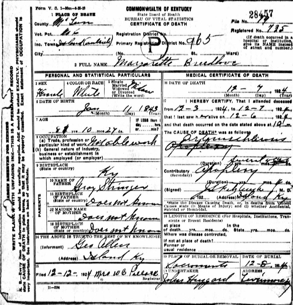 Margaret Stringer Death Certificate