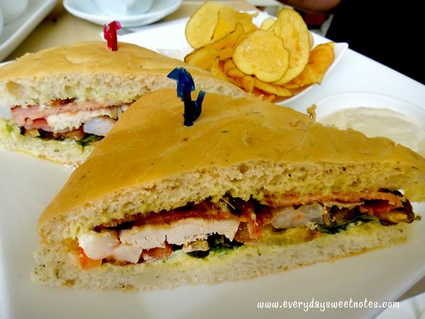 Lemon club, pesto mayo, grilled chicken, bacon, shrimps & marinated ...