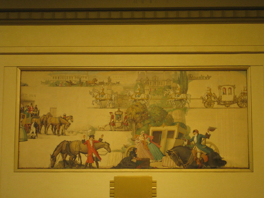 """Modes of Transport by Land"" Mural by Napier Waller - Myer Emporium Mural Hall, Bourke Street, Melbourne"