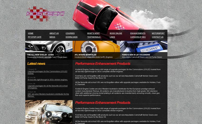 Web design for Kostecki Engine Centre