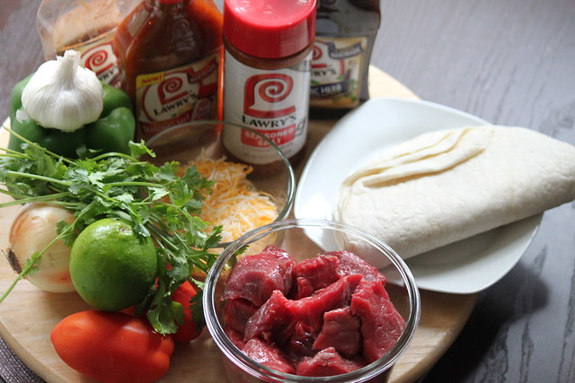 Ingredients for grilled steak quesadillas