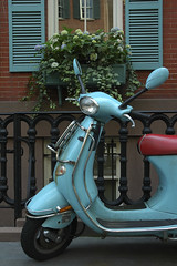 NYC Vespa (George Cam) Tags: street new york city nyc flower brick window vespa turquoise wheels scooter shutters libbares
