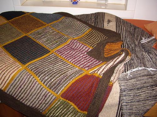 Anna's handspun handknitted blanket