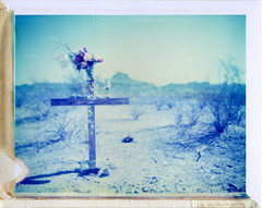 Along Salome Road, AZ (moominsean) Tags: summer arizona sun polaroid death cross desert dry 190 type108 salomeroad expired012000